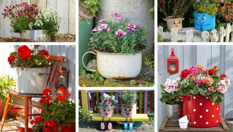 21 Unusual home and garden decorations with old cooking pots