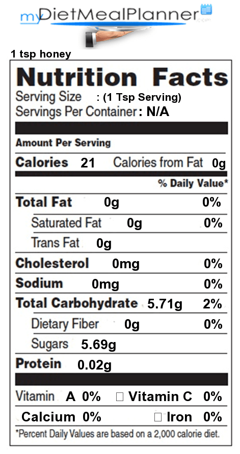 Honey Nutrition Facts 1 Tsp : honey, nutrition, facts, Nutrition, Facts, Label, Sauces,, Spices, Spreads, Mydietmealplanner.com