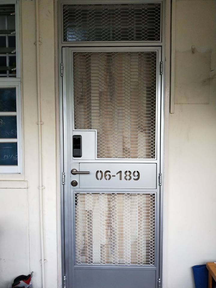 Bear bear Fire Rated HDB Main Door with Retro Mesh Gate Oval with EPIC Digital Lock and EPIC Push Pull Digital Lock