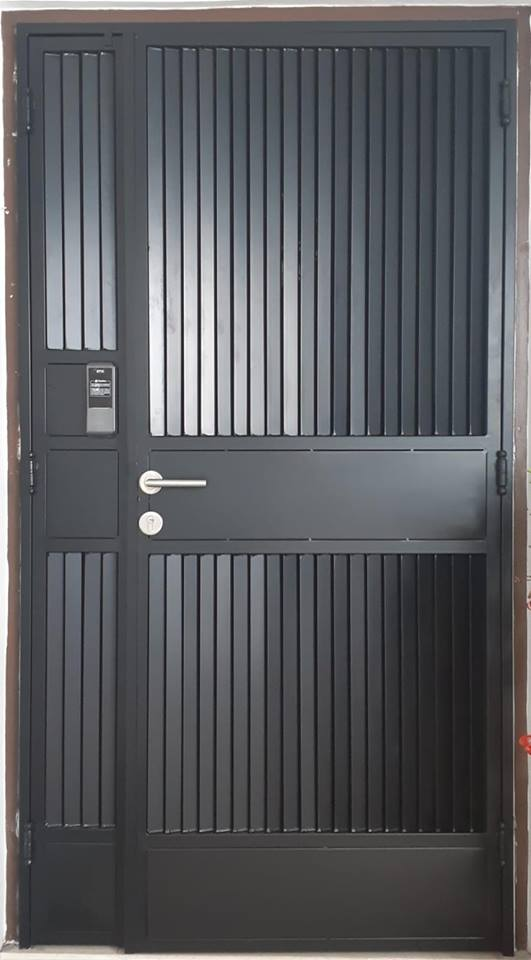 HDB Mild Steel Designer Louver Gate with EPIC Gate digital lock at $1280 in Singapore , Completed by My Digital Lock Call 90677990 , Order Now and Get it in 5 days