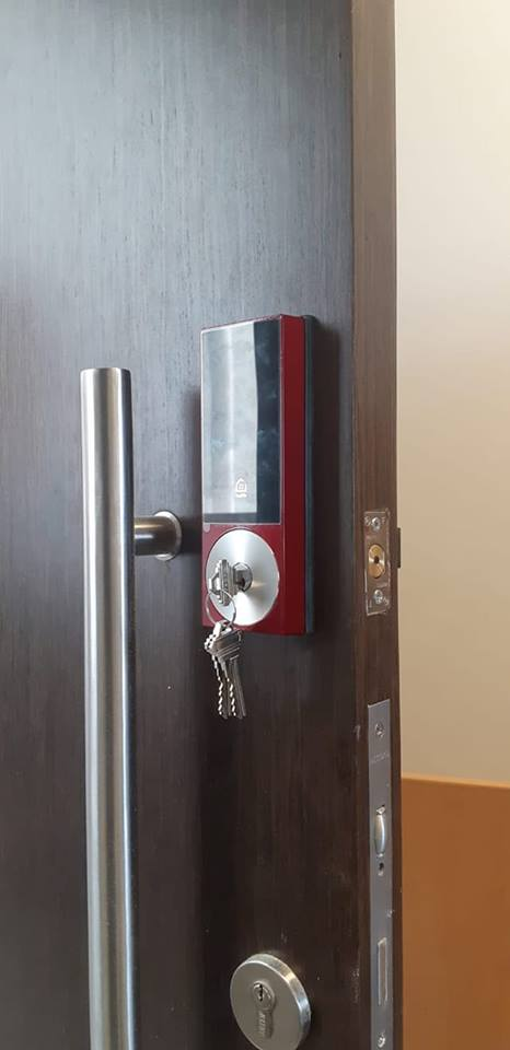 KEYWE Limited Edition Red SMartphone WI-Fi Digital Lock at $499 for Condo Fire Rated Main Door in Singapore by My Digital Lock
