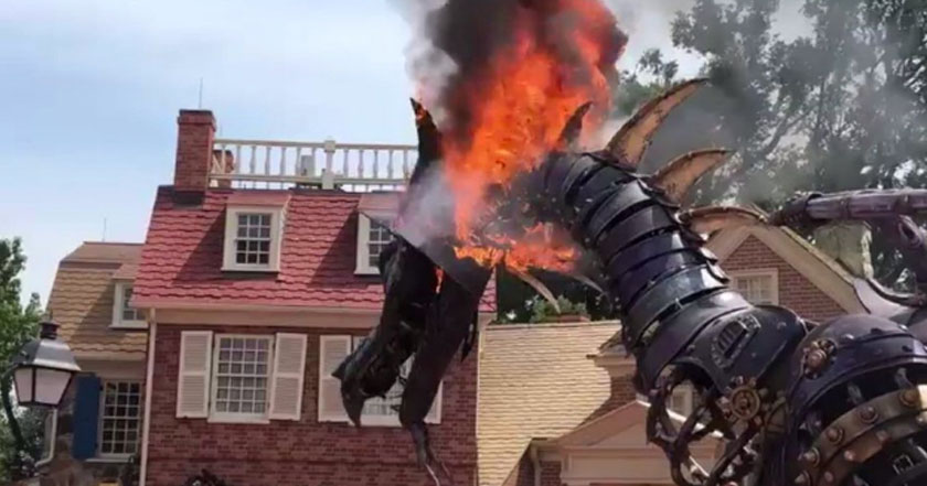 Maleficent dragon catches fire during Festival of Fantasy Parade at Magic Kingdom