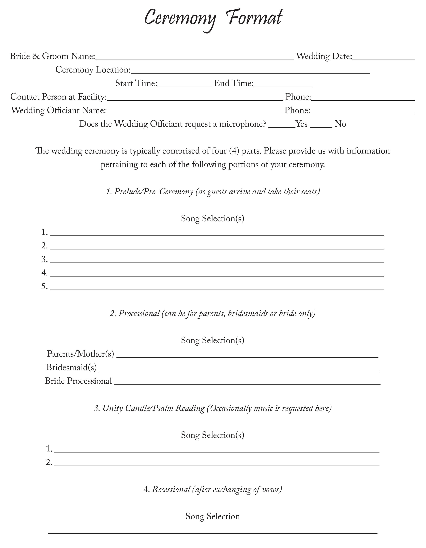 Ceremony Format Sheet