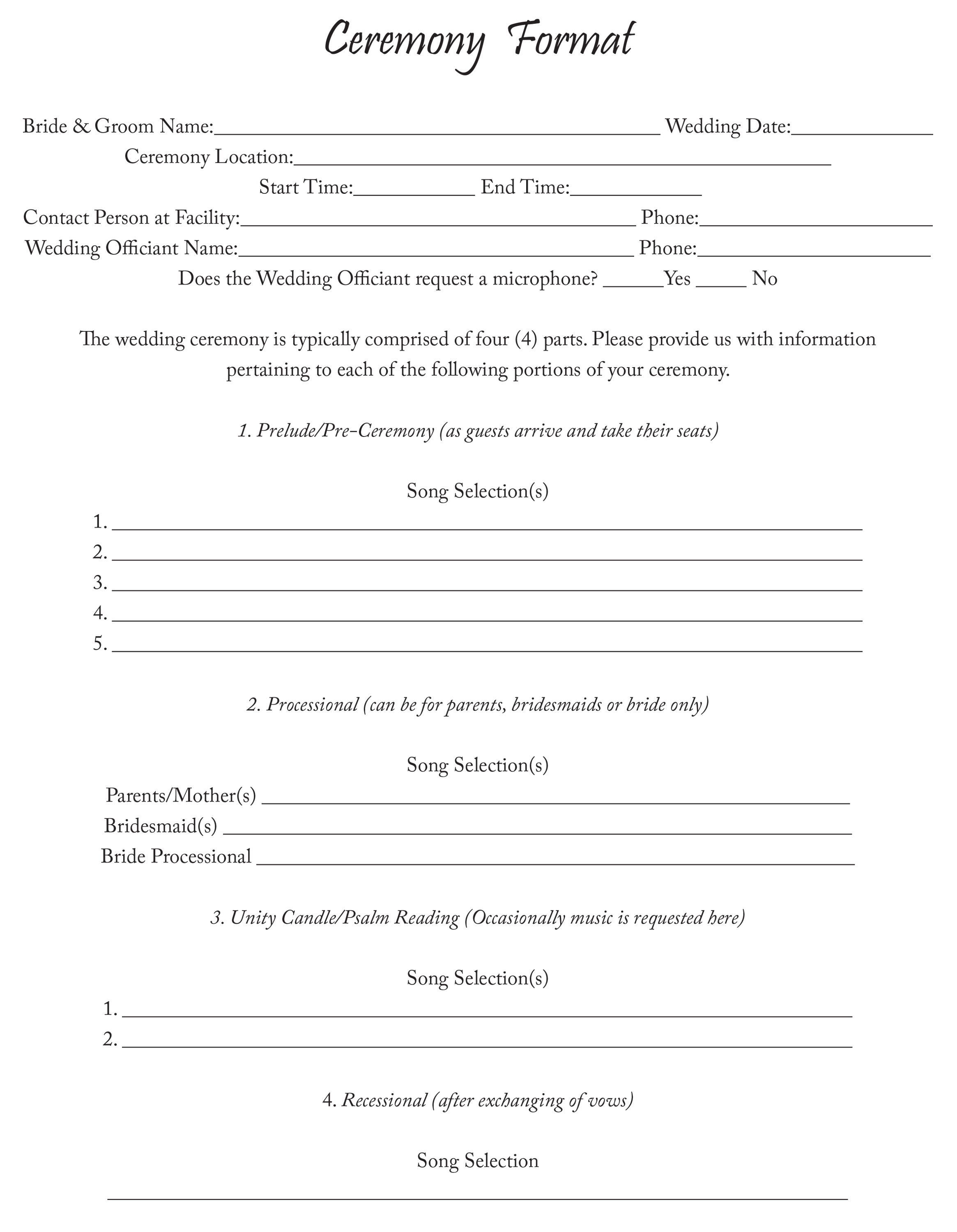 Ceremony Format Sheet
