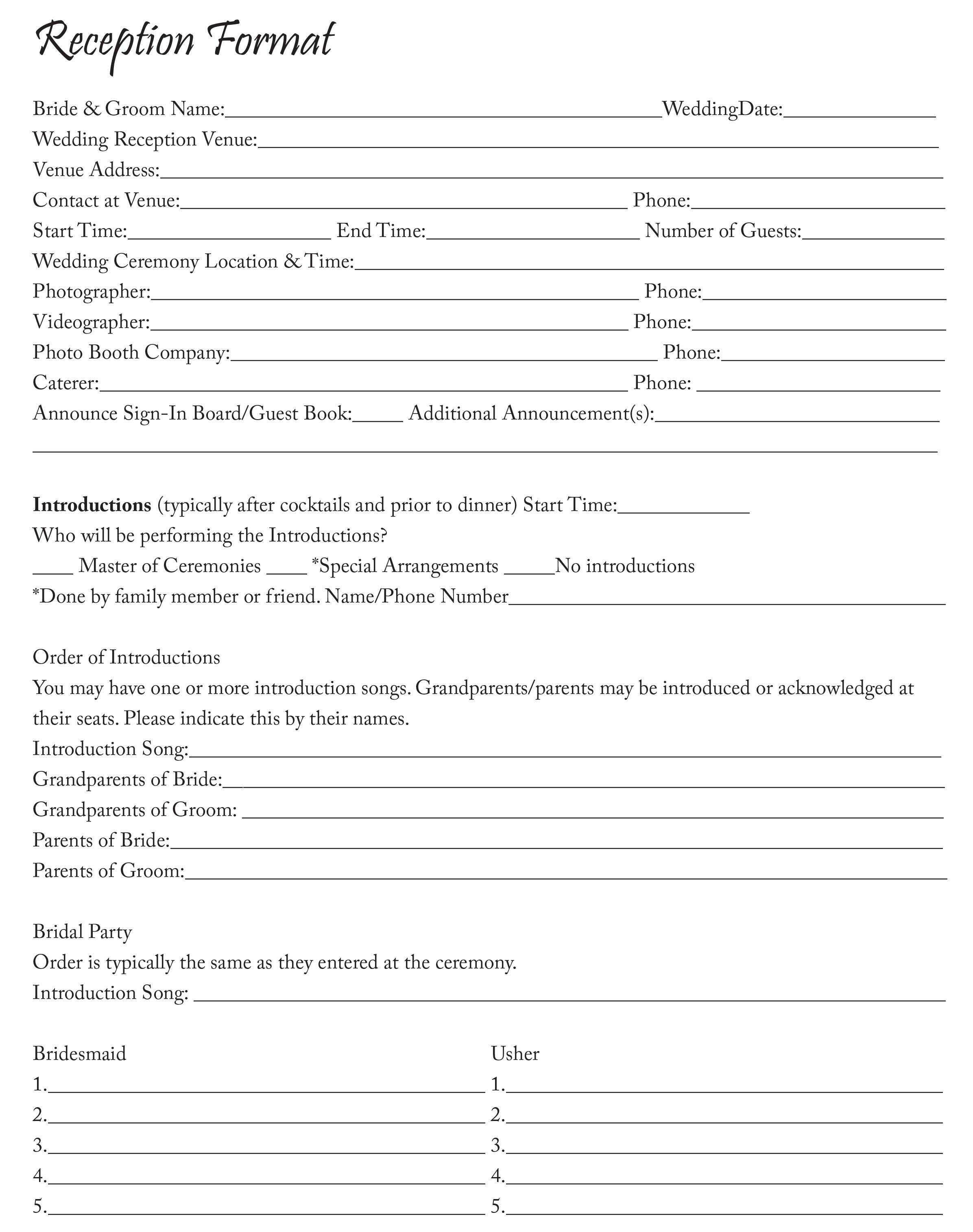 Reception Format Sheet