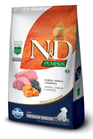 N&D Pumpkin Canine Puppy Medium Cordero,Calabaza y Arandano 2,5 Kg