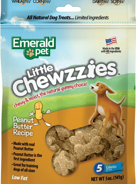 EMERALD PET Dog Snack Little Chewies-Peanut Butter 5 OZ