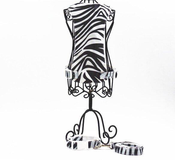 Dog Harness + Leash + Colar Zebra