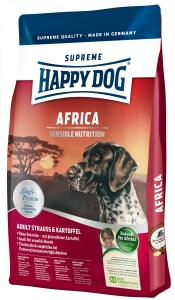 Happy Dog Africa pack shot Happy Dog's Ostrich Meat Food Helps Dogs With Delicate Stomachs & Helps To Aid Projects In Rwanda