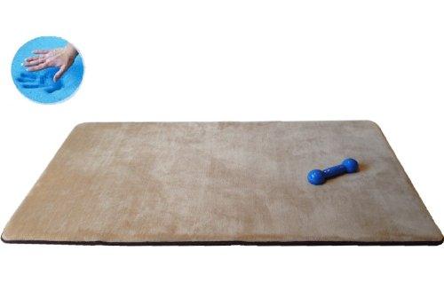 Beige Color Multi Purpose Extra Large Big 40X35 Luxury Memory Foam Coral Fleece Rug Mat For