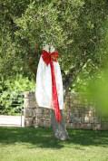 Свадебное платье с красным бантом. Wedding dress with red Japanese bow knot