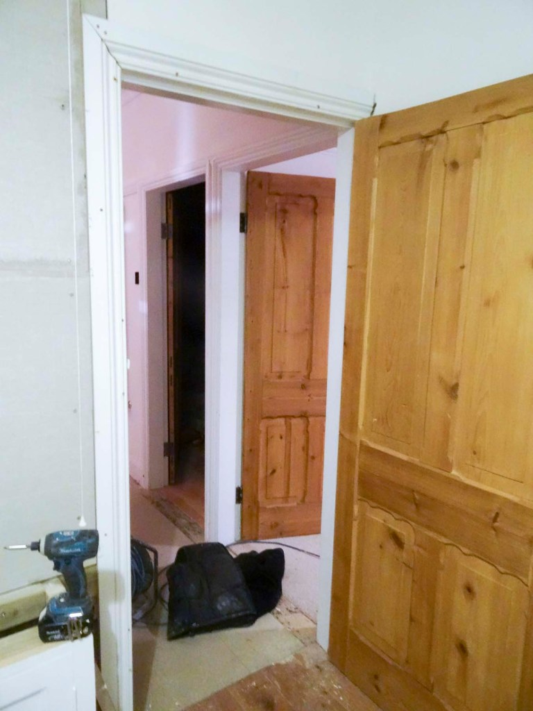 New door surround pinned into place, needs filling and painting now