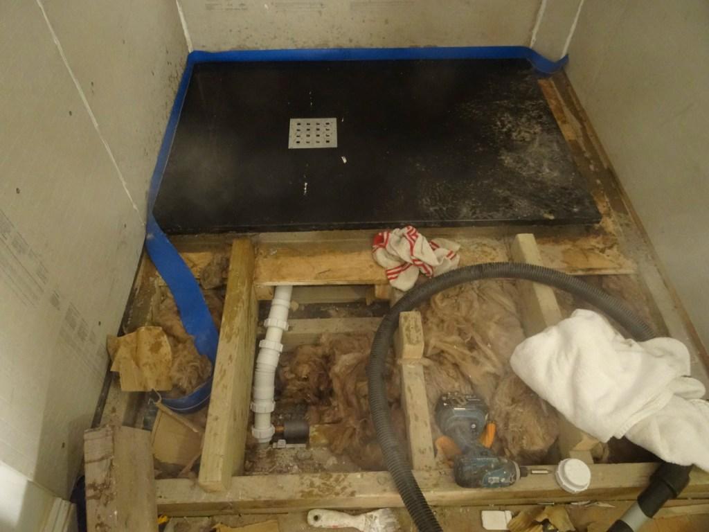 shower tray, trap and drain ready to go - shower tanking