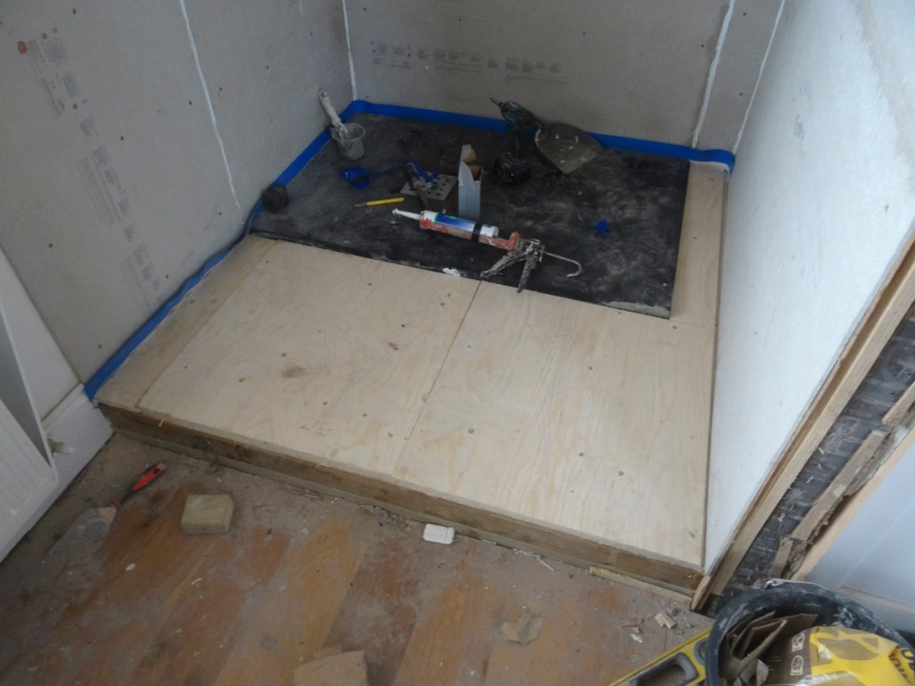 boarding out with plywood - shower tanking