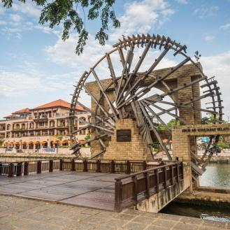 malacca-malaysia-feb-old-wooden-windmill-near-melaka-river-february-was-included-list-74084190