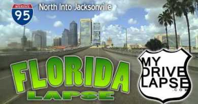Driving into Jacksonville, Northbound on Interstate 95, Florida Dashcam