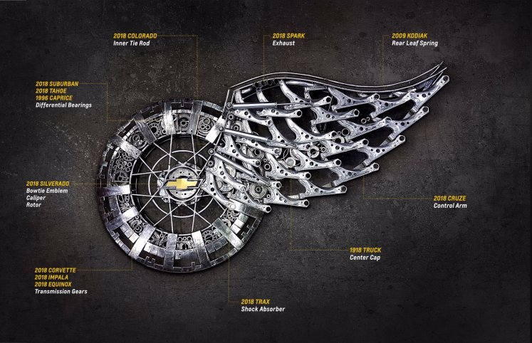 """Revealing Wheels & Wings: A Chevrolet Tribute To The Iconic Detroit Red Wings """"winged Wheel"""" Logo"""