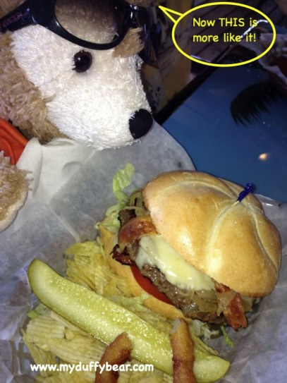 Duffy the Disney Bear loves his bacon, swiss burgers!