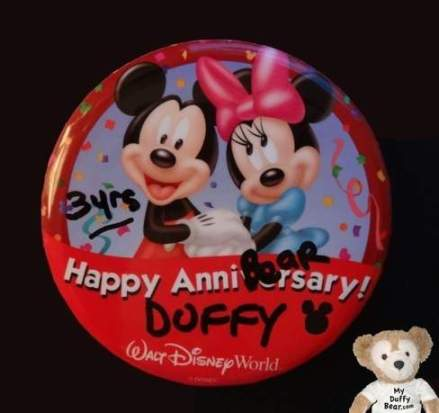 Duffy the Disney Bear Third Year Anniversary Button