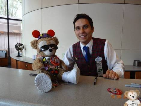Duffy the Disney Bear gets an Anniversary Button at Guest Relations in EPCOT