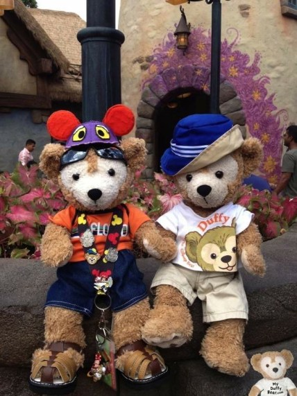 Duffy Bear and Canadian Cousin Duffy Magic Kingdom in front of Rapunzel's Tower