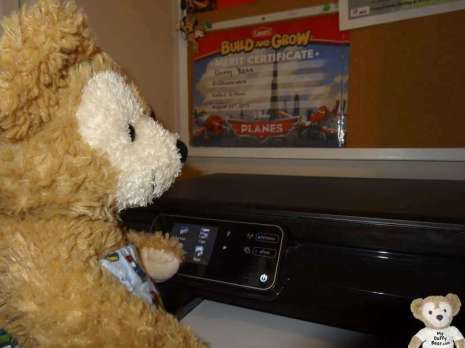 Duffy the Disney bear starts the scanner