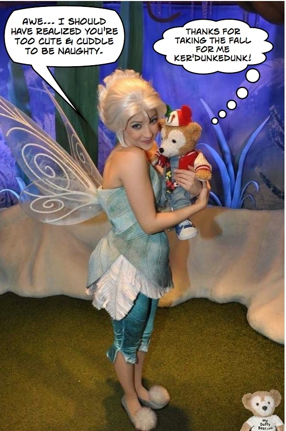 Duffy the Disney Bear gets a hug from Disney Fairy Periwinkle