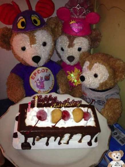 Duffy the Disney Bear surprises his mommy with a Birthday Cake