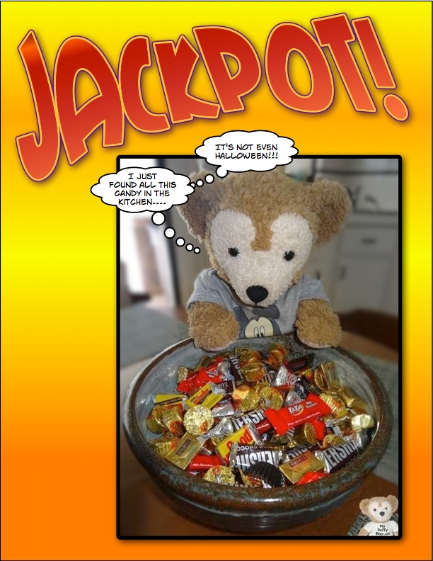 Duffy the Disney Bear discovers lots of candy in the kitchen - Comic Life