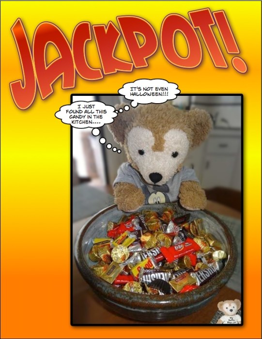 Lucky Bear! Duffy the Disney Bear discovers lots of candy in the kitchen - Comic Life