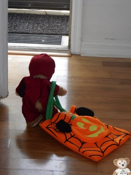 Duffy the Disney Bear goes Trick or Treating in his Iron Man Costume.