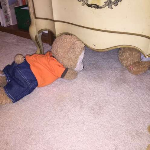 Duffy the Disney Bear tells Little Joe not to be scared of the thunder boomer storm.
