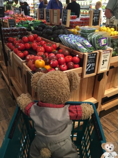 Duffy the Disney Bear in The Fresh Market Produce Department
