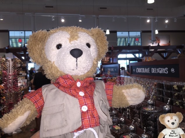 Duffy the Disney Bear jumps up and down when he sees the chocolate at The Fresh Market