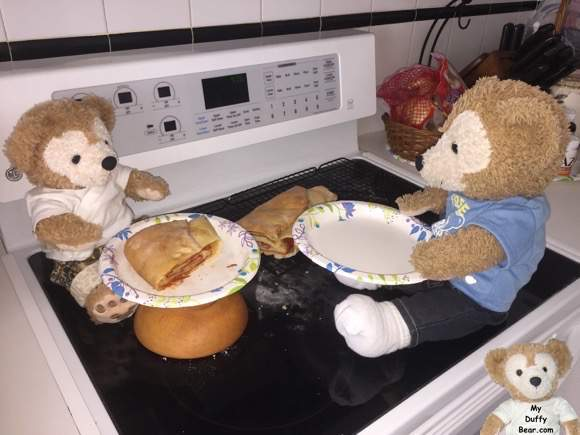 Duffy the Disney bear joins Little Joe to eat pepperoni bread