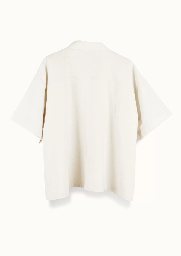 Beige short sleeve shirt made from organic and recycled cotton - back
