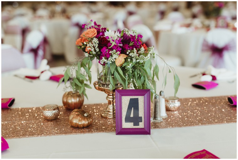 gold and green centerpiece