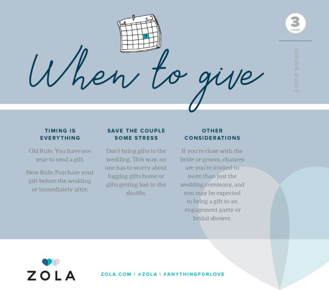 zola wedding registry, when to give a wedding gift