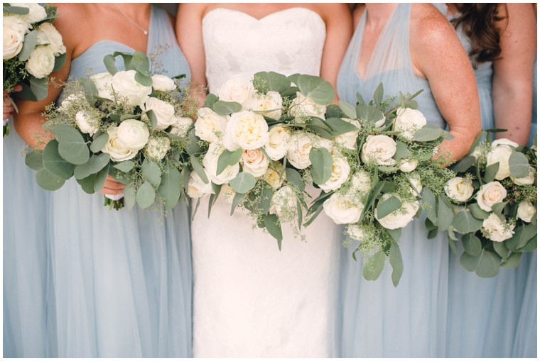 white rose and greenery bridal bouquets