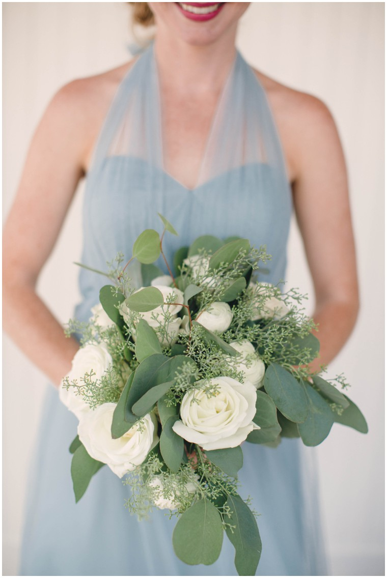 dusty blue bridesmaid dress, white rose and greenery bridesmaid bouquet