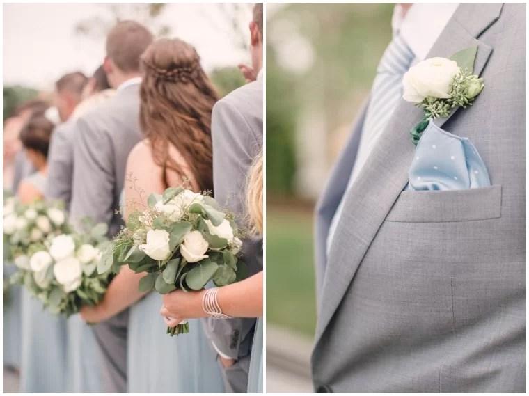 dusty blue and grey wedding details