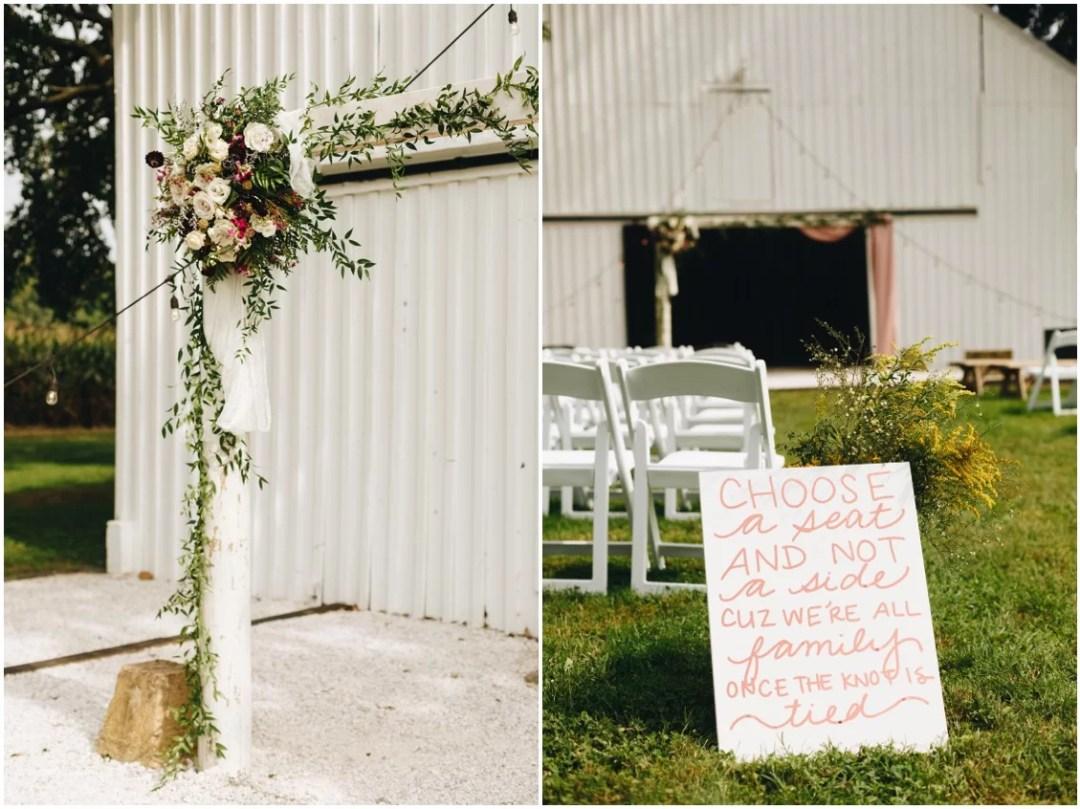 Flowers by Keleidoscope Custom Florals + Butterbee Farm, DIY wedding sign. |Eastern Shore Wedding|
