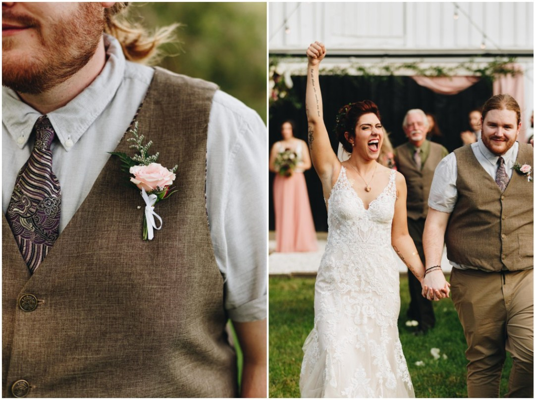 Floral boutonniere, red-haired groom at Whitebarn wedding. |Eastern Shore Wedding|