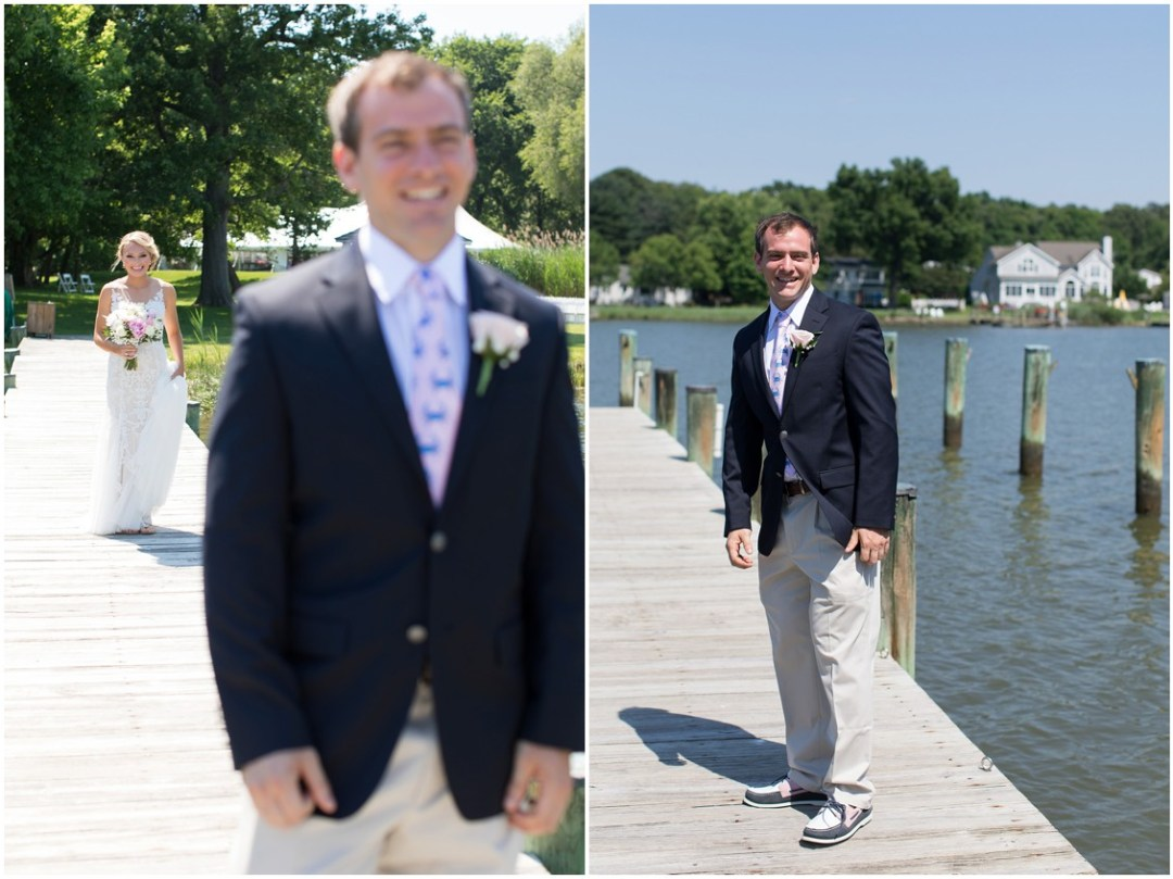 Bride walking down the dock to the groom for the reveal. | My Eastern Shore Wedding |