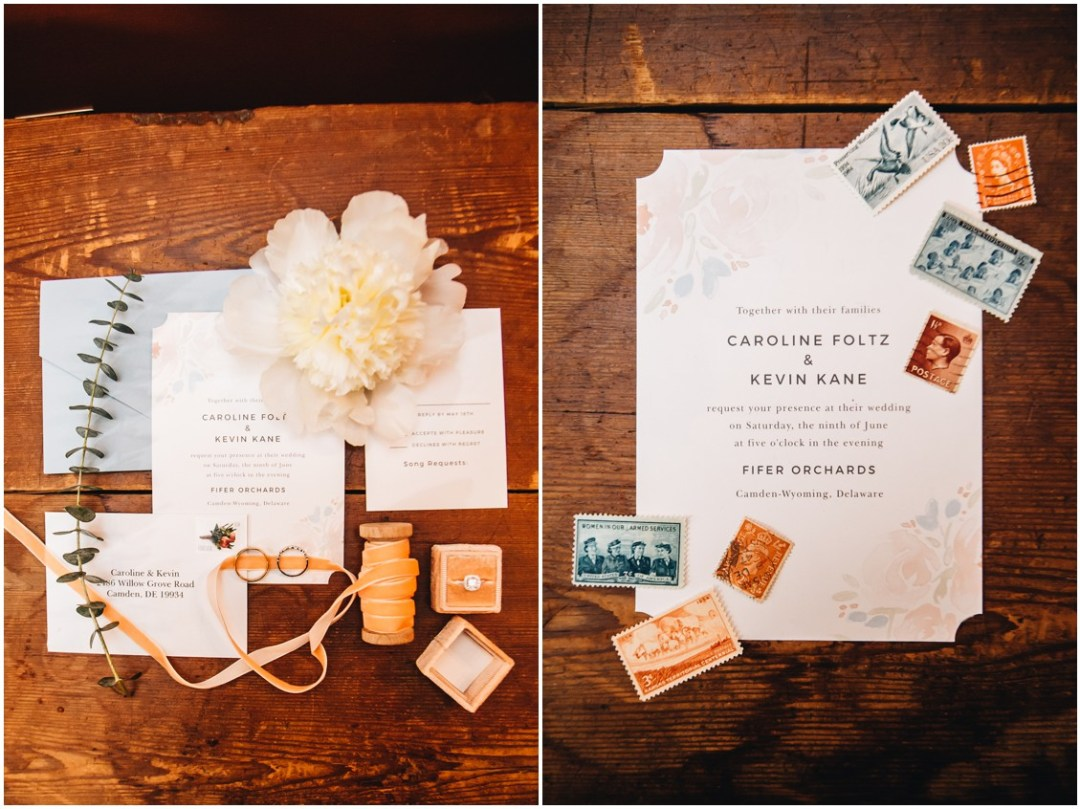 Wedding stationery, postage stamps, and the rings. | My Eastern Shore Wedding |