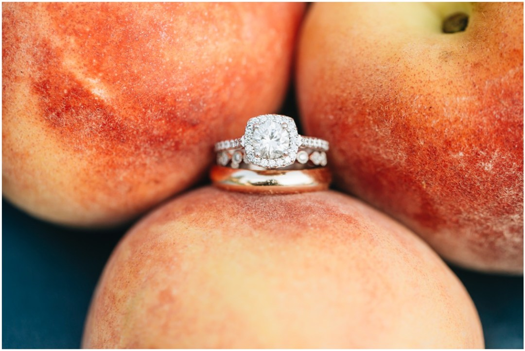 Wedding ring between peaches from Fifer Orchards. | My Eastern Shore Wedding |