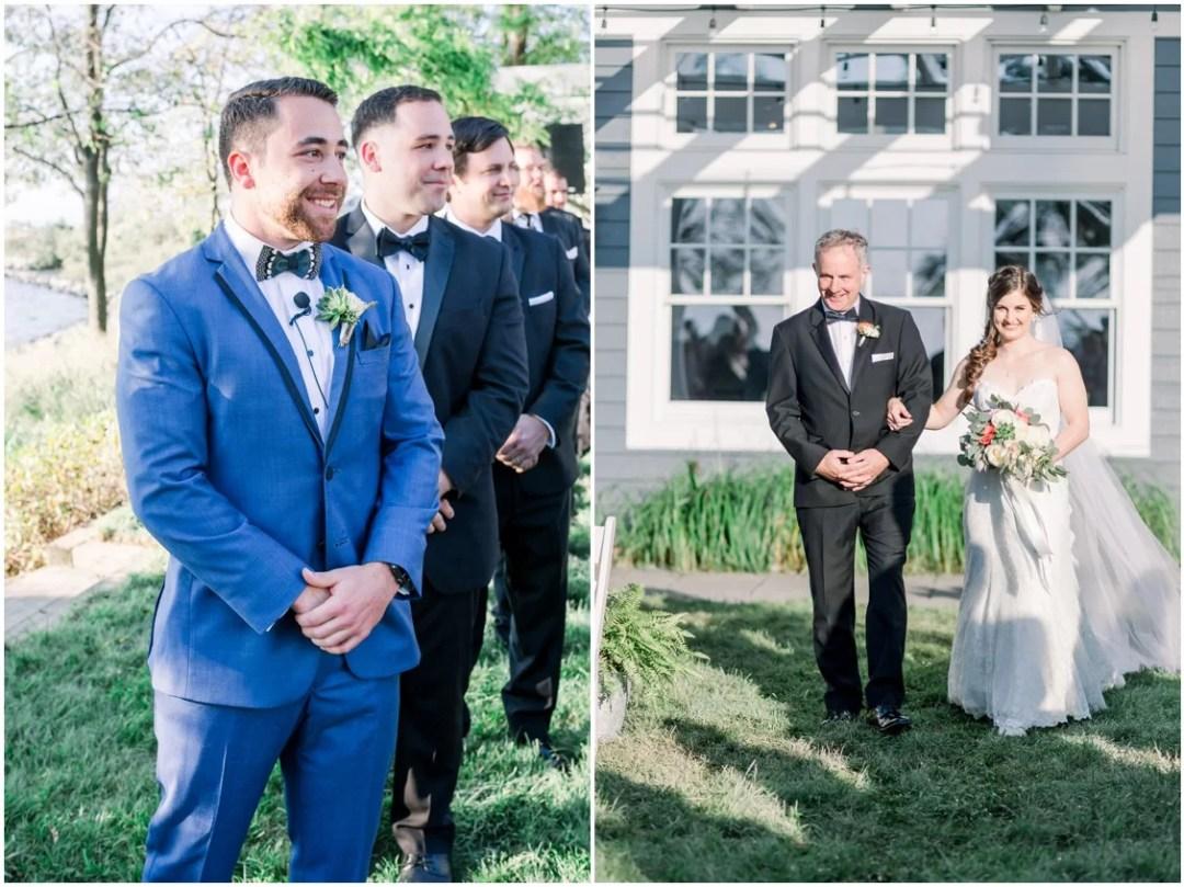 Groom watching bride walk down the aisle. | My Eastern Shore Wedding |