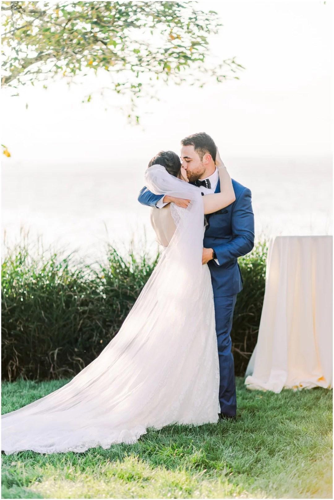 Bride and groom kiss. | My Eastern Shore Wedding |