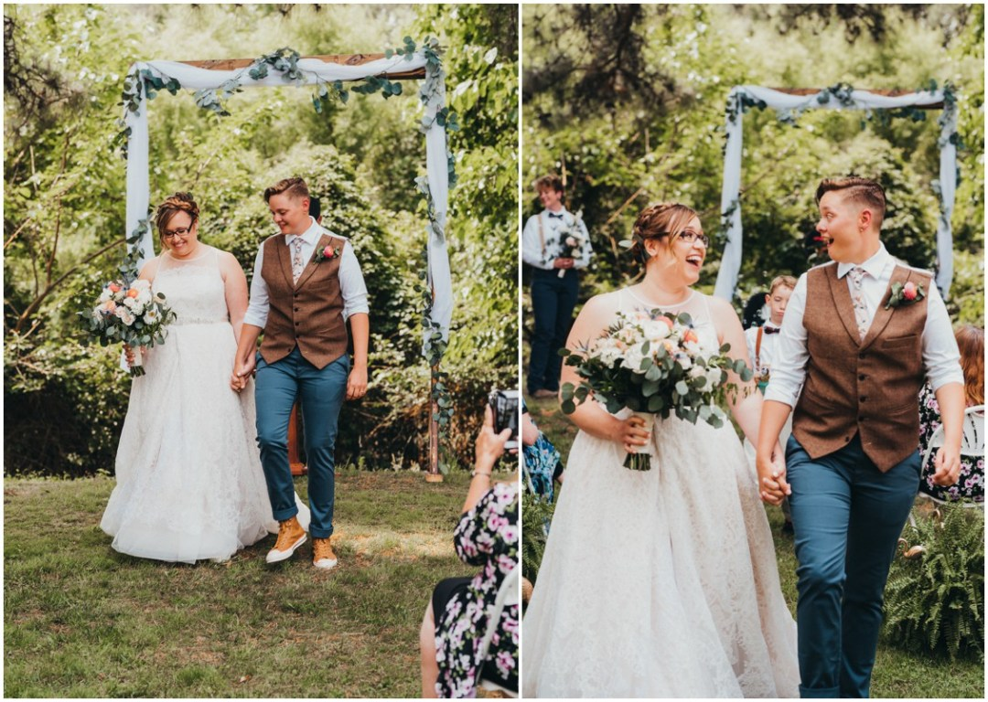 Married couple walks down aisle after ceremony. | My Eastern Shore Wedding |