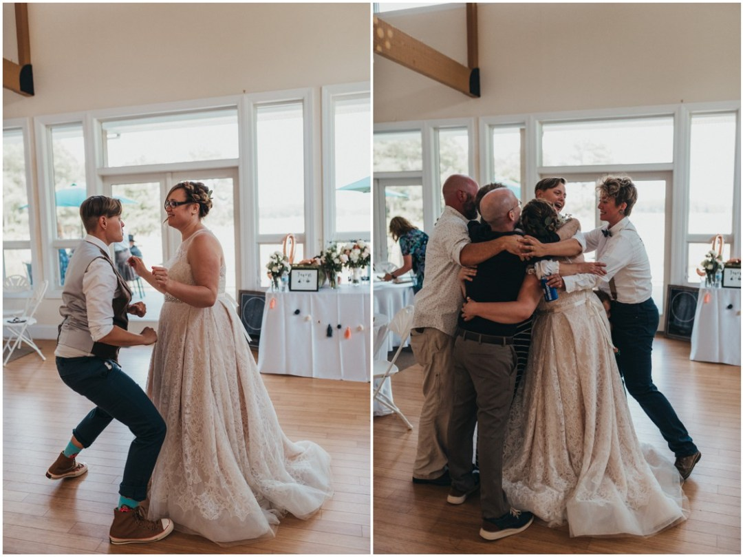 Married couple dancing together and with family and friends at reception. | My Eastern Shore Wedding |